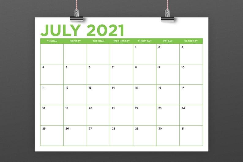 8 5 X 11 Inch Color 2021 Calendar Template Instant