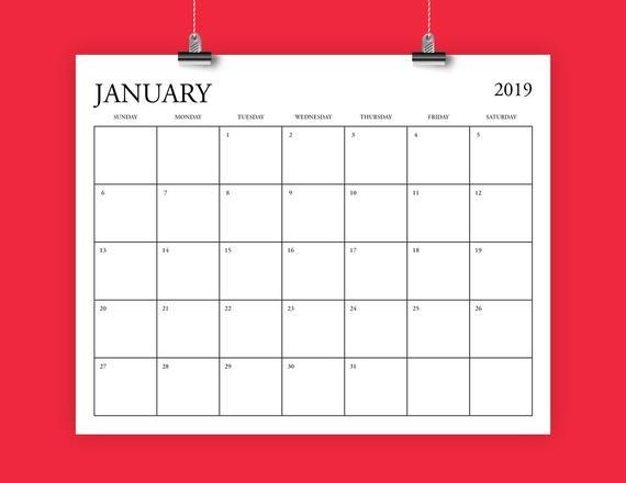 8x10 Inch 2019 Calendar Template Fits 8 5 X 11 Etsy