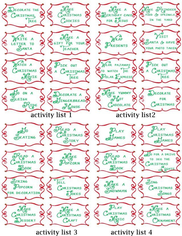 Advent Countdown Calendar Including 100 Activities Free