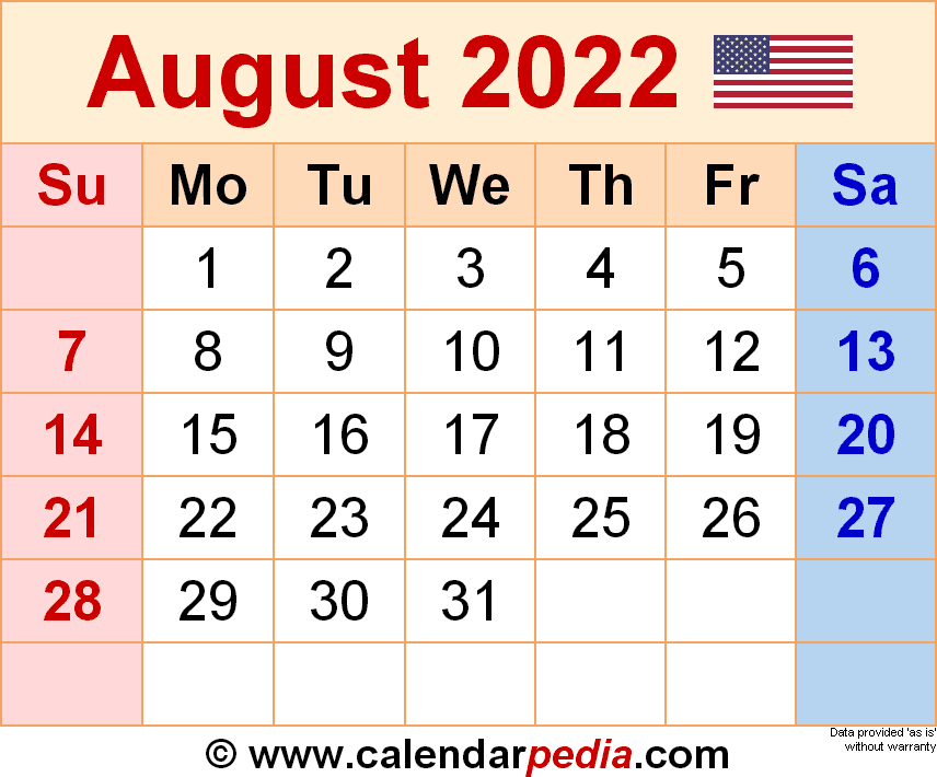 August 2022 Calendar Templates For Word Excel And Pdf