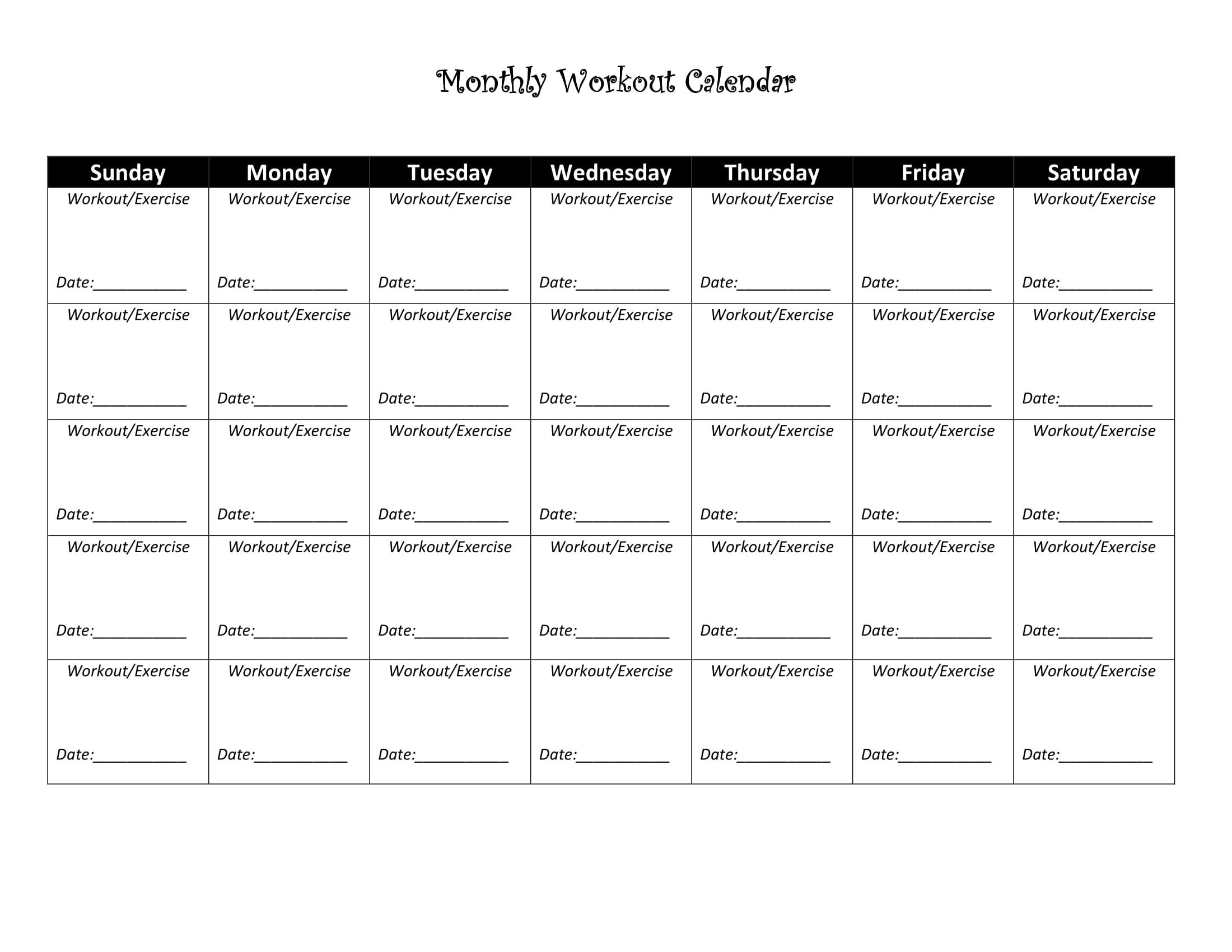 Blank 30 Day Fitness Calendar Printable Calendar 2020 2021