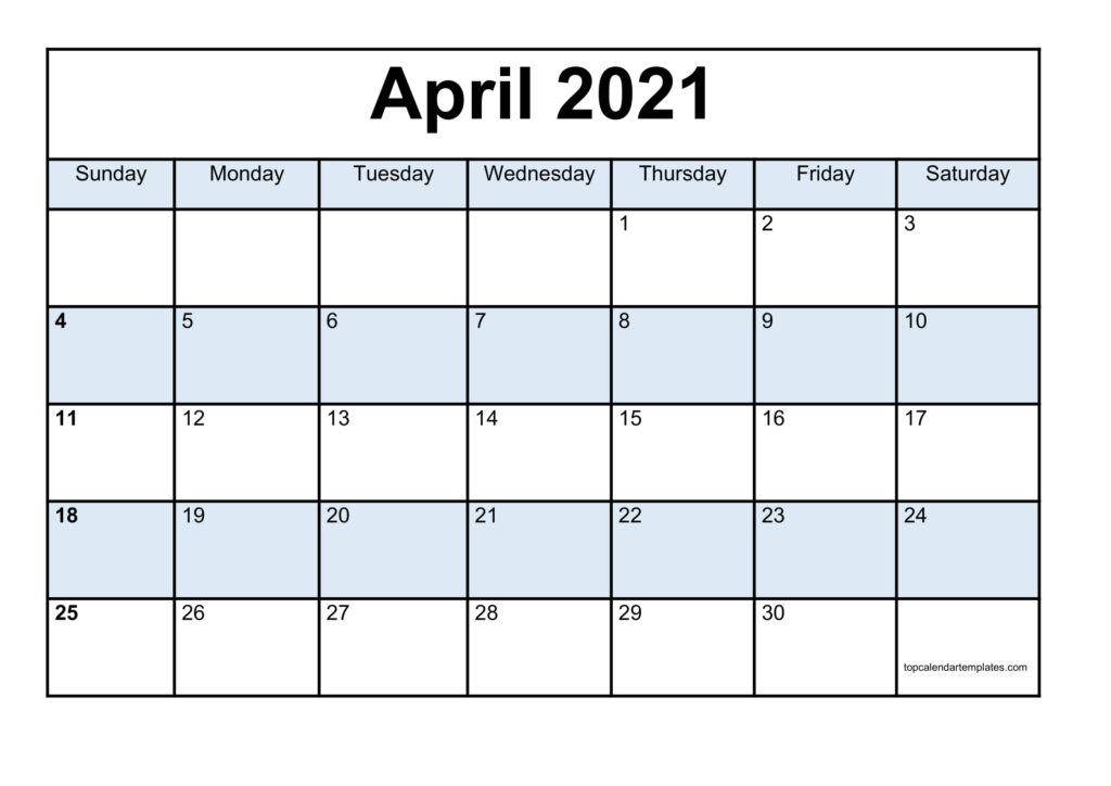 Blank April 2021 Calendar Template Monthly Planner