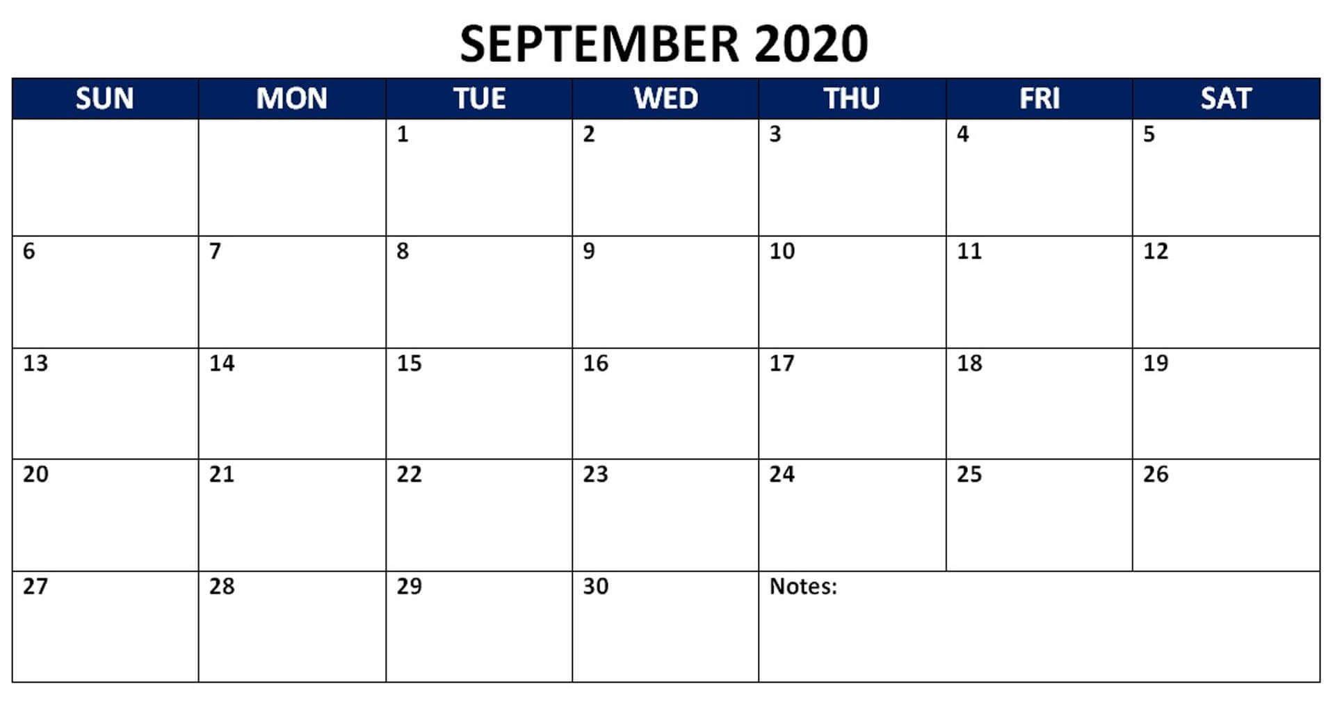 Blank Calendar Template September 2020 Calendar Template