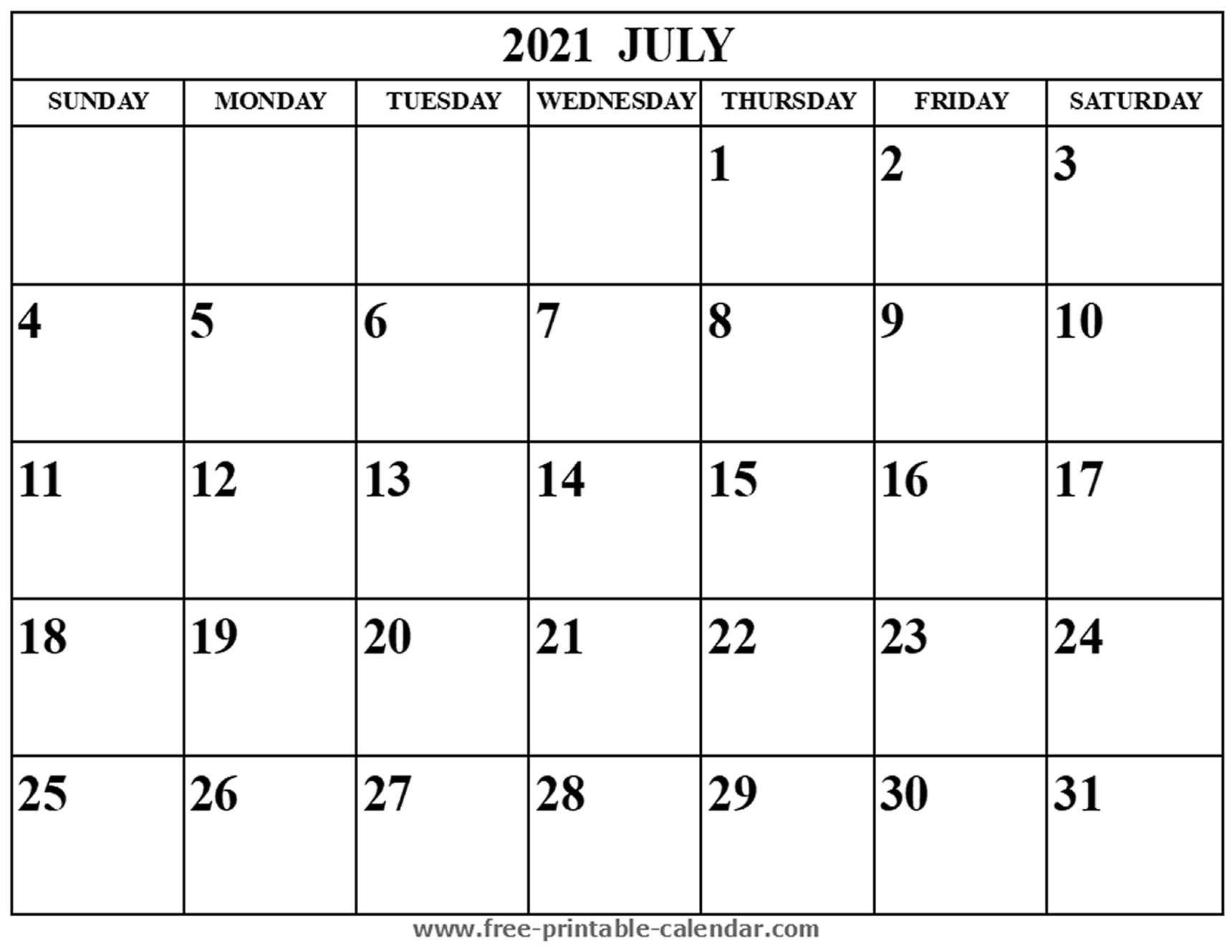 Blank July 2021 Calendar Free Printable Calendar