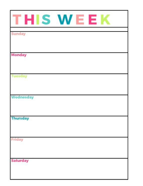 Bright Weekly Planner Printable Week On 1 Page Etsy