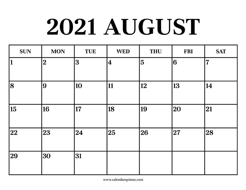 Calendar 2021 August Calendar Options