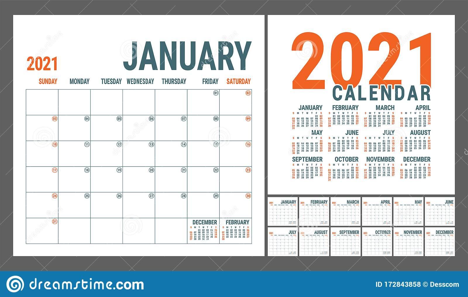 Calendar 2021 English Calender Template Vector Square