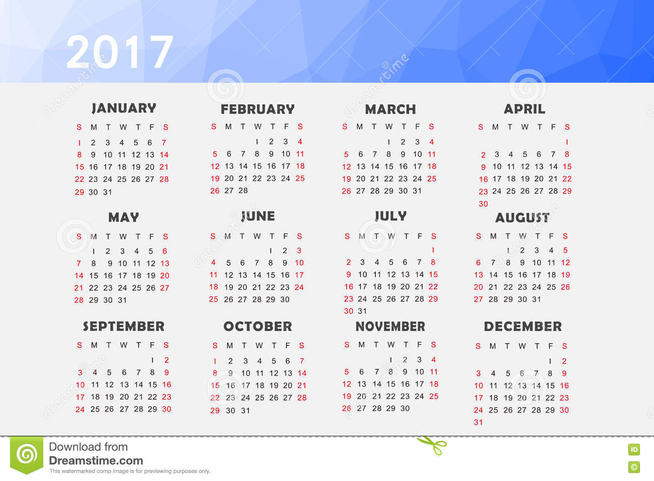 Calendar For 2017 Stock Illustration Illustration Of