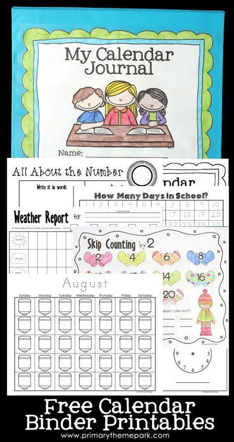 Calendar Notebook Binder Printables Kindergarten