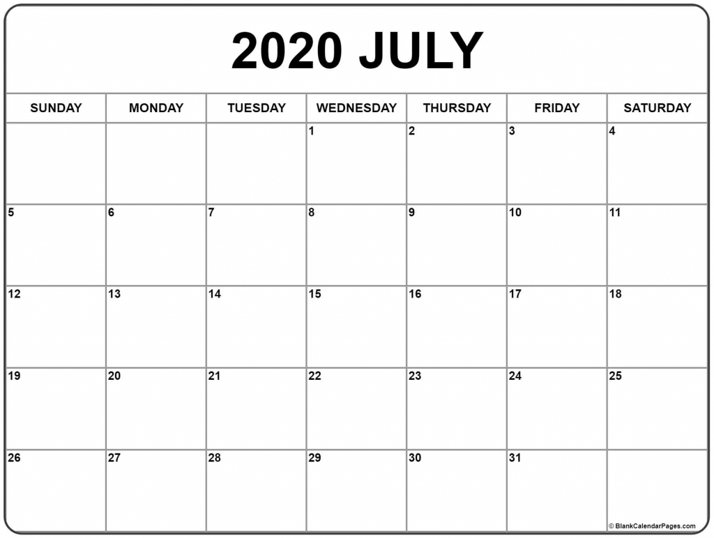 Calendar Page Starting From July 2020 With The Hours