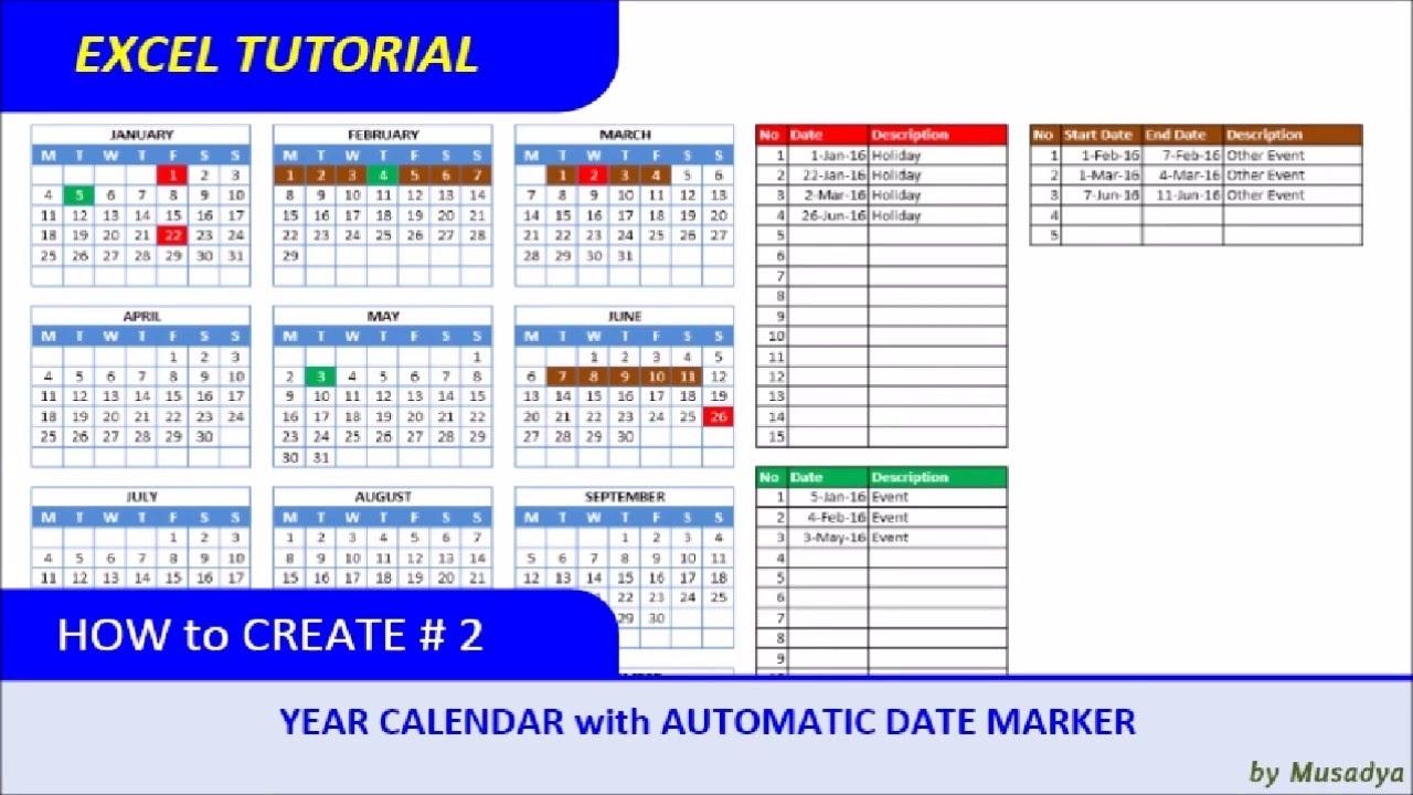 Color Coded Calendar In Excel Calendar Template 2021