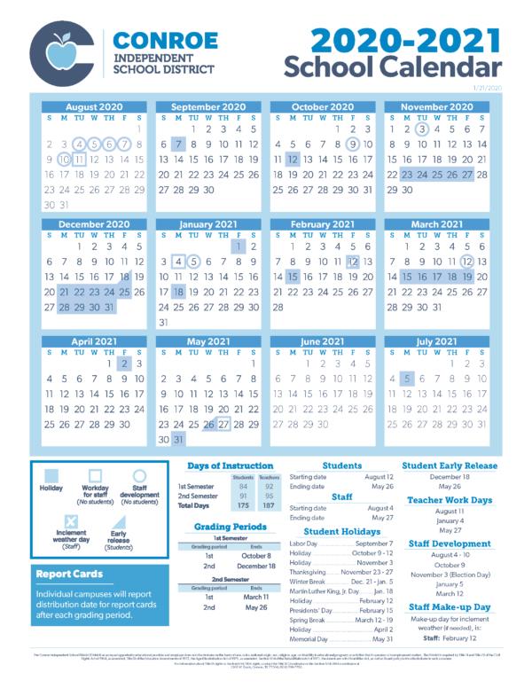 conroe isd trustees approve 20 21 school calendar conroe isd
