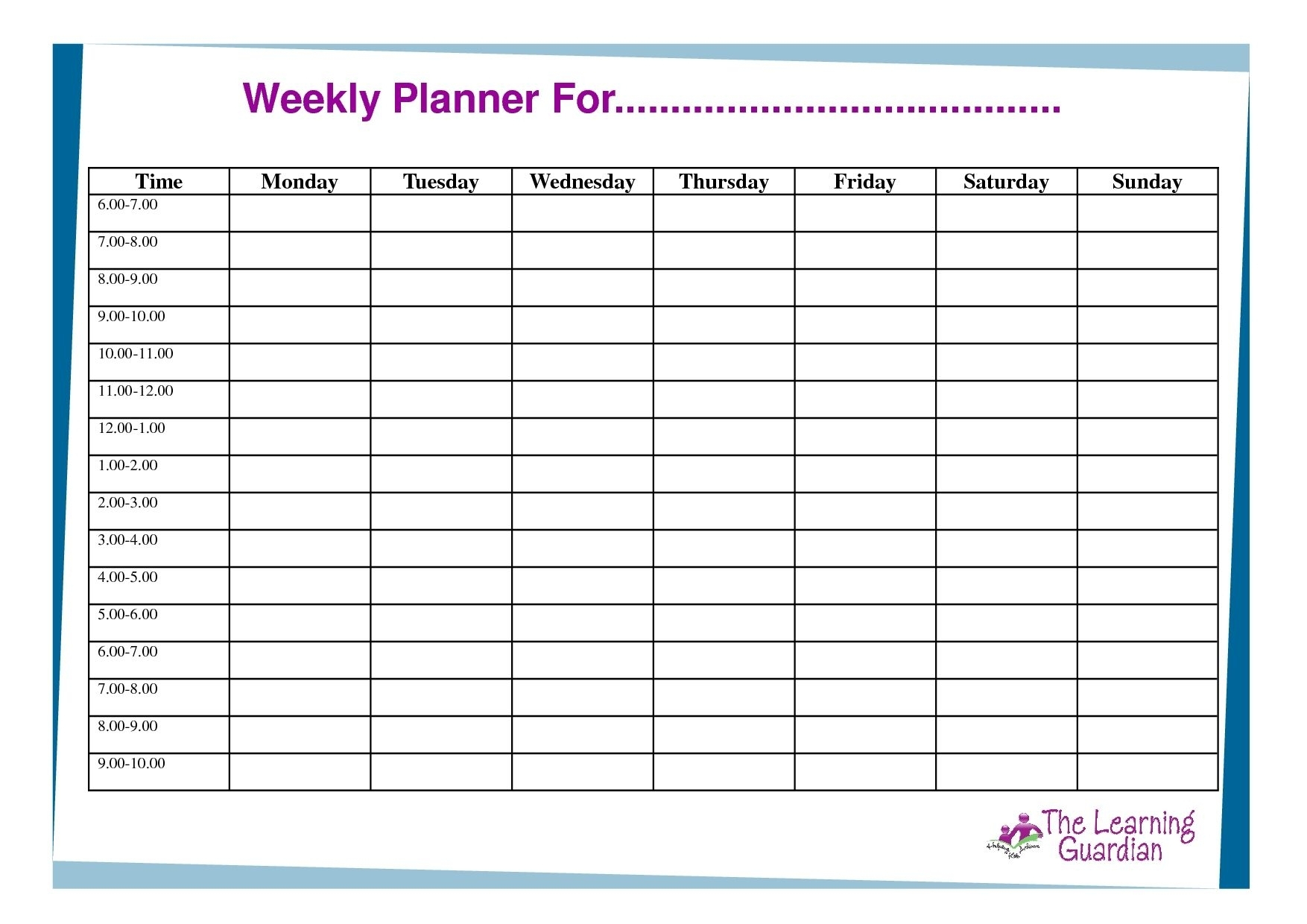 Days Of The Week Schedules Free Template Calendar