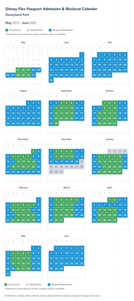 Disneyland Blackout Calendar Template 2021
