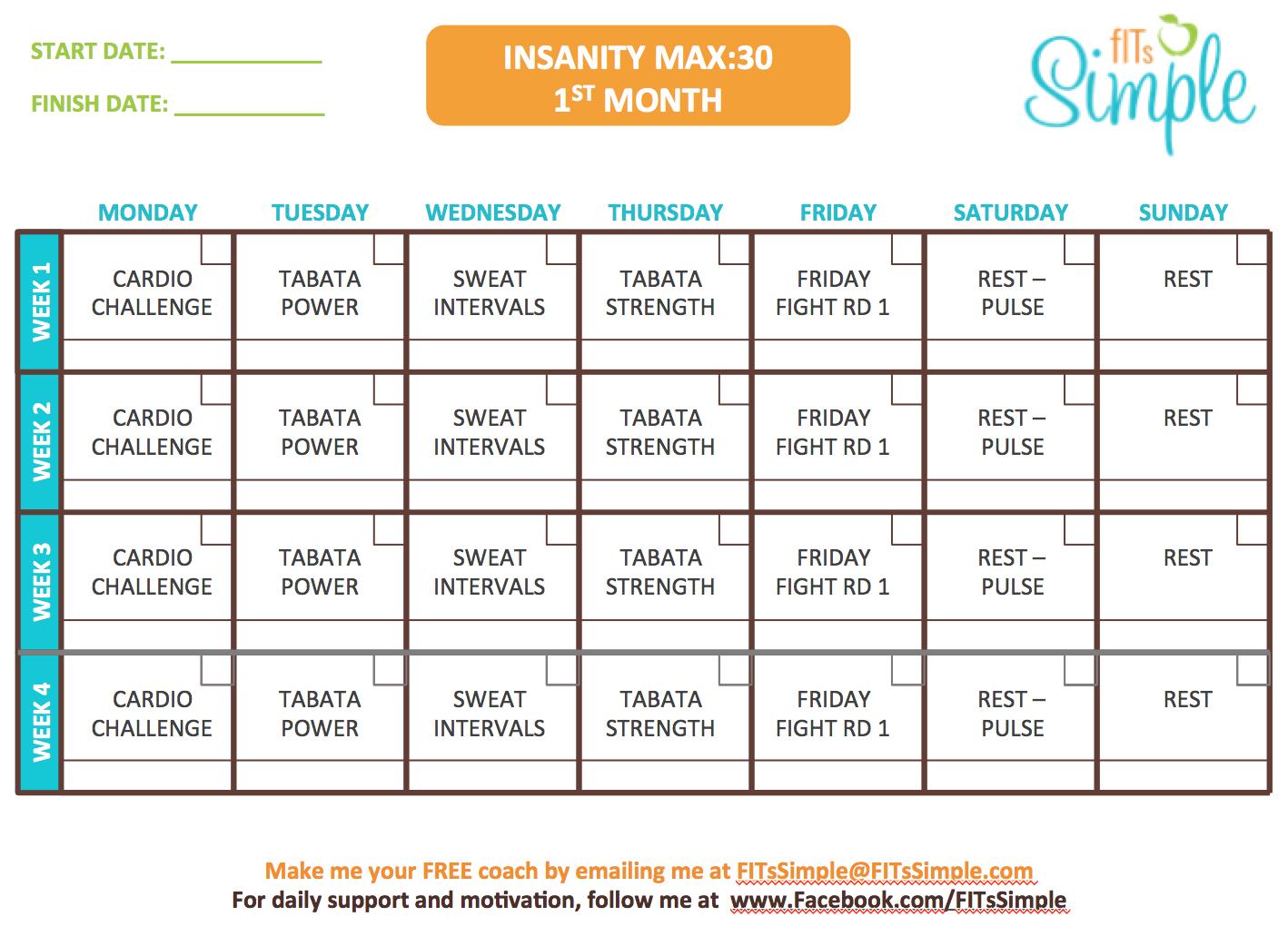 Downloadable Insanity Workout Calendar Pdf