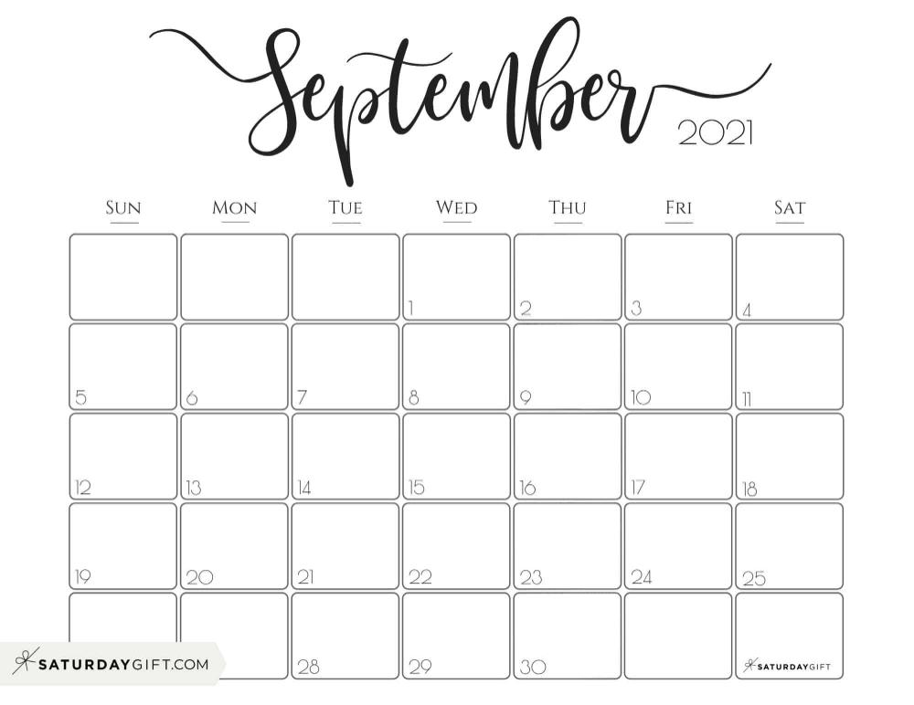 Elegant 2021 Calendarsaturdaygift Pretty Printable Monthly Calendar Monthly Calendar