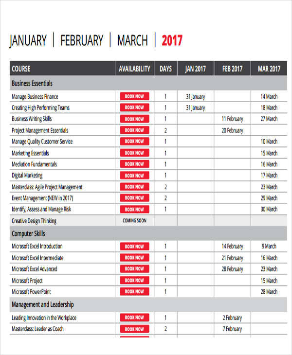 Free 10 Quarterly Calendar Templates In Pdf