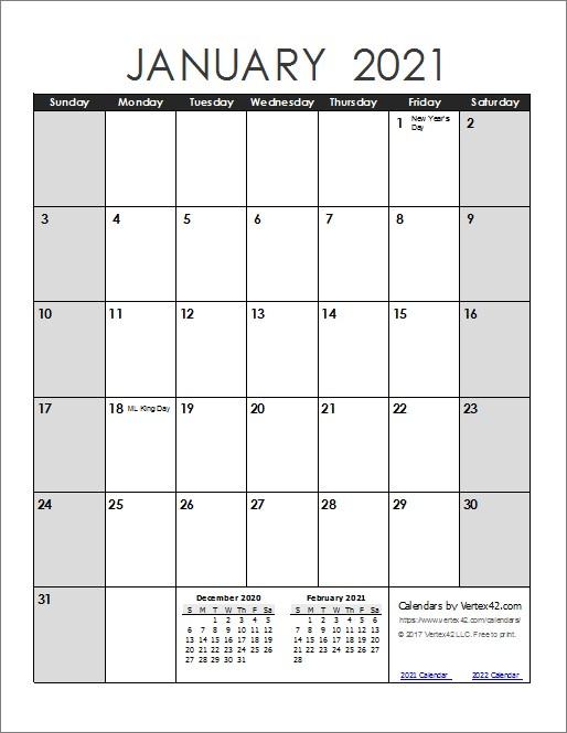 Free 12 Month Calendar 2021 Full Free Printable Calendar