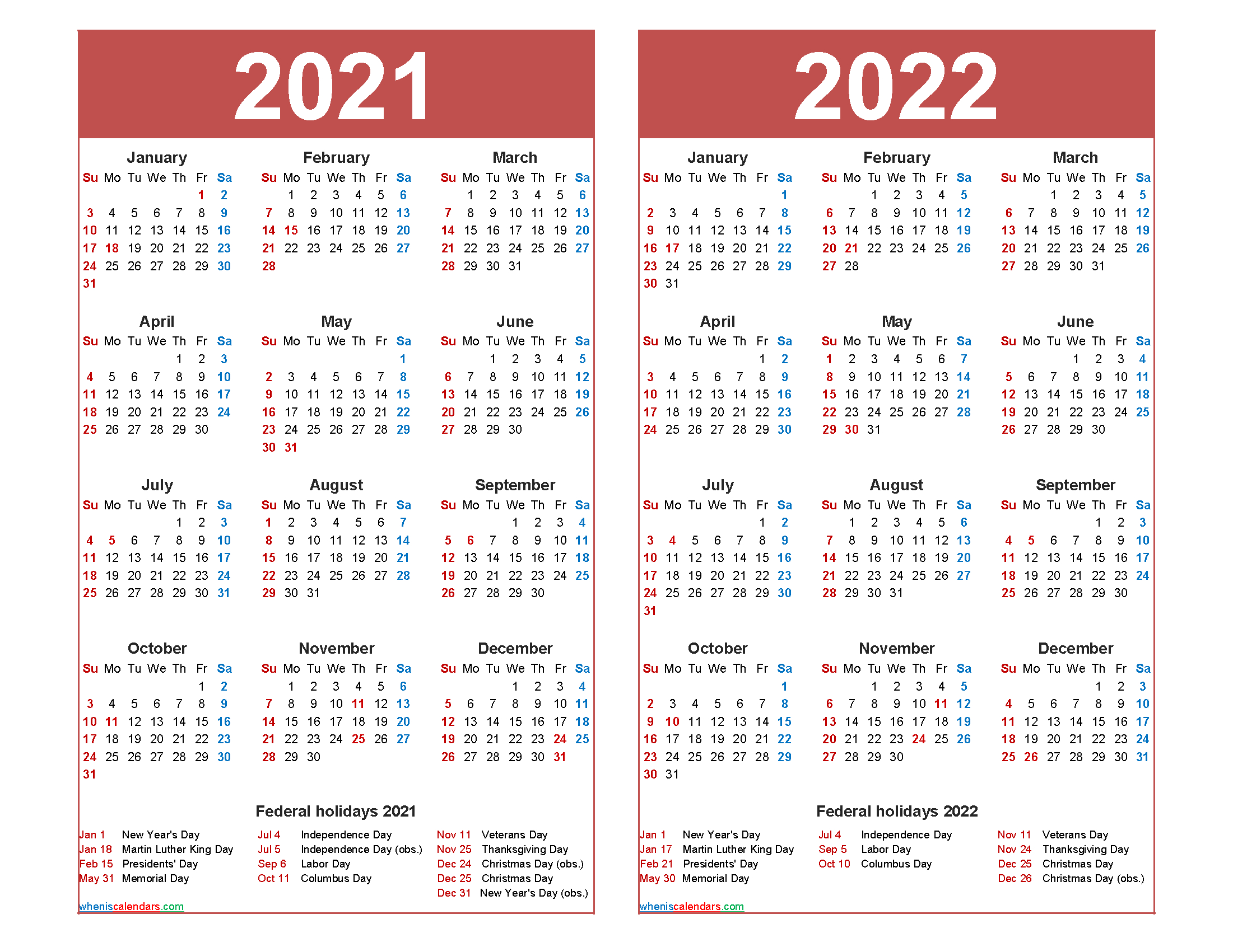 Free 2021 And 2022 Calendar Printable With Holidays Free