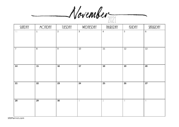 Free 2021 Calendar Template Word Instant Download 1