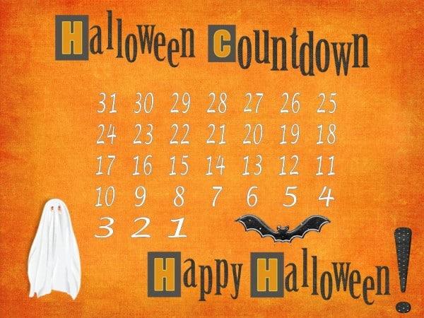 Free Halloween Countdown Calendar Instant Download