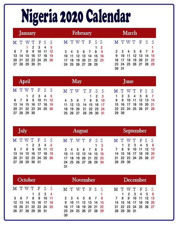 Free Nigeria 2020 Printable Calendar With Public Holidays