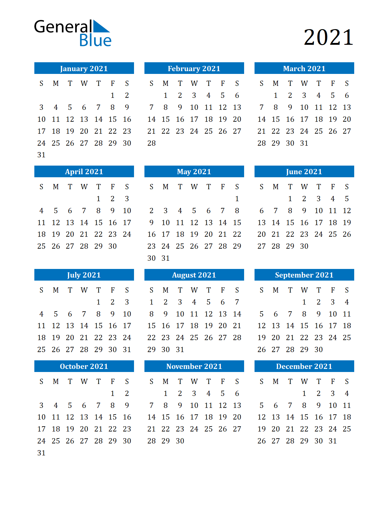 Free Printable 12 Month 2021 Calendar With Lines 1