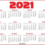 Free Printable 12 Month 2021 Calendar With Lines