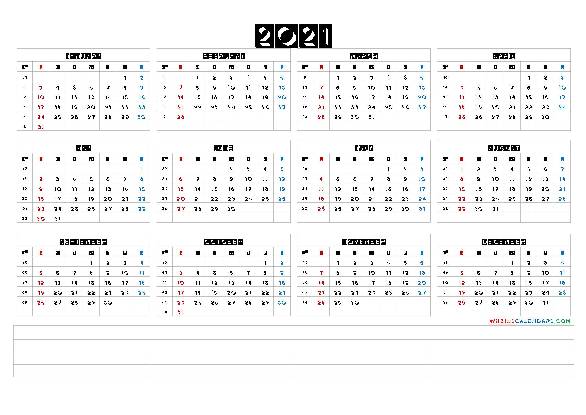 Free Printable 2021 Yearly Calendar With Week Numbers 6 1