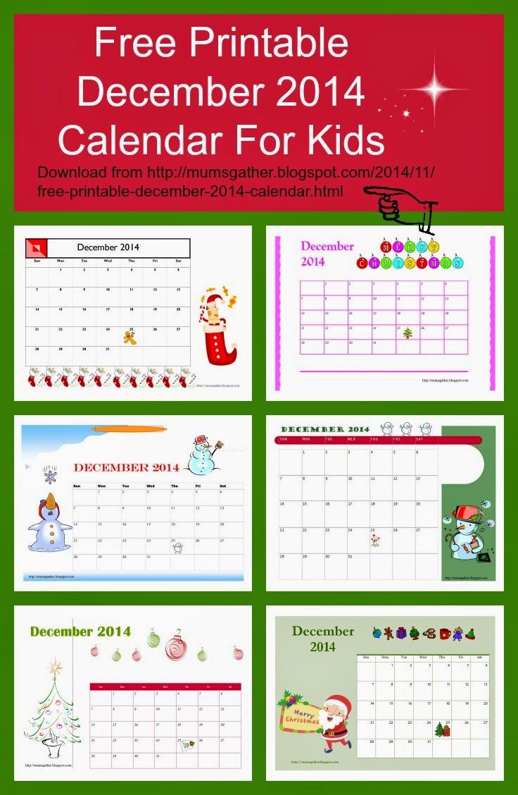 Free Printable December 2014 Calendar For Kids Santa Christmas Tree Gingerbread Men