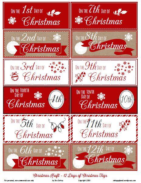 Free Printable Download 12 Days Of Christmas Gift Tags Vintage Gl Free Printable