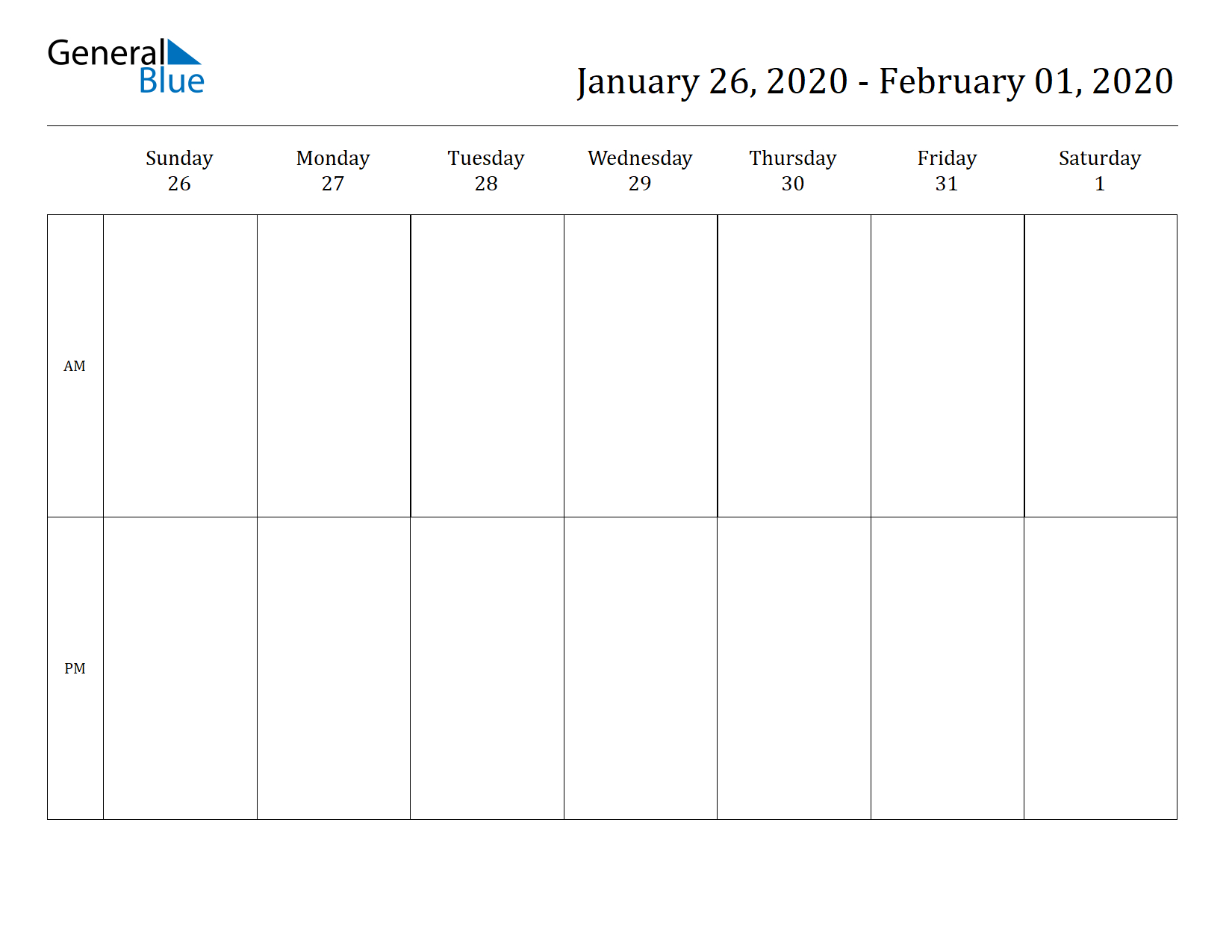 Free Printable Weekly Calendars For 2020 In Pdf Document