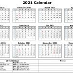Free Yearly Printable Calendar 2021 With Holidays