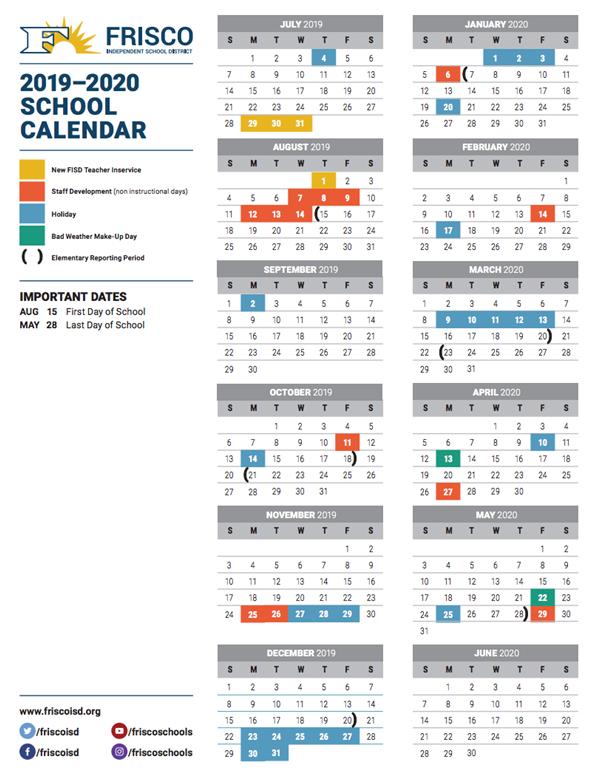 Frisco Isd 2020 2019 Calendar Calendar Online 2019