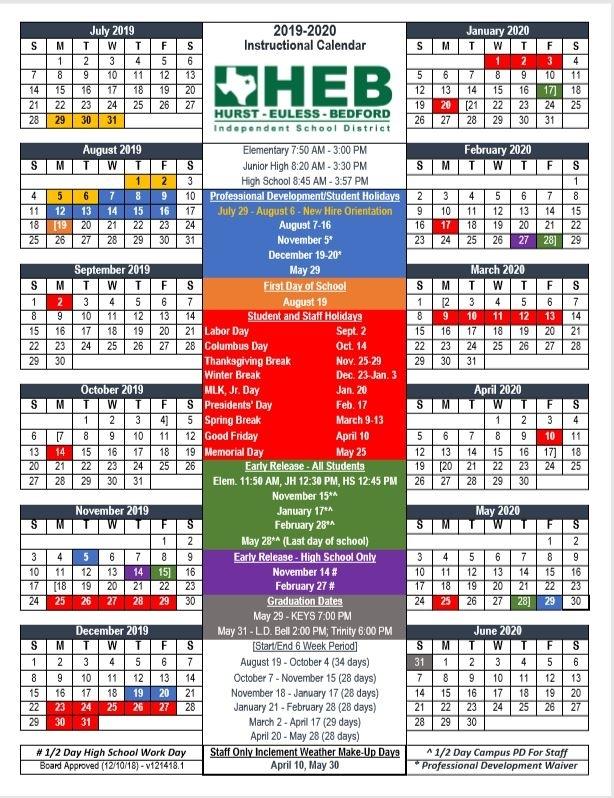 Heb Isd Calendar 2021 2020 Qualads
