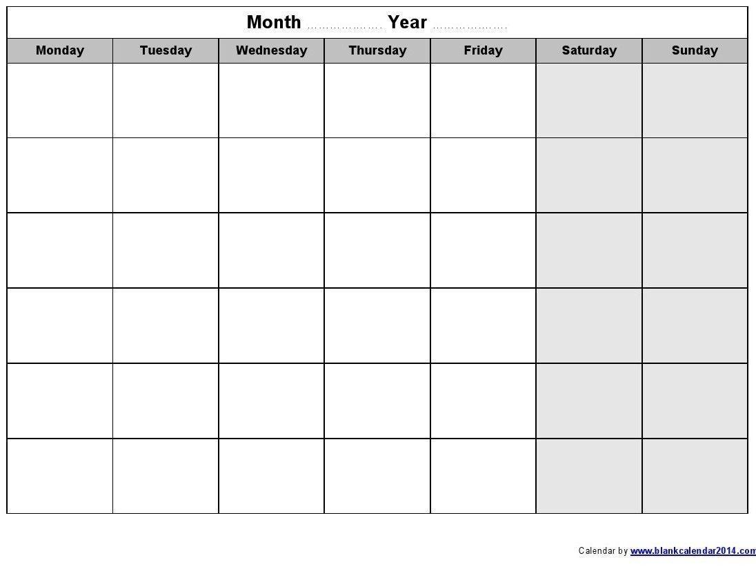 How To Monday Thru Friday Printable Calendar Free Get Your Calendar Printable