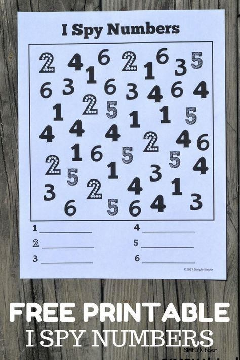 I Spy Numbers Free Printable Numbers Preschool