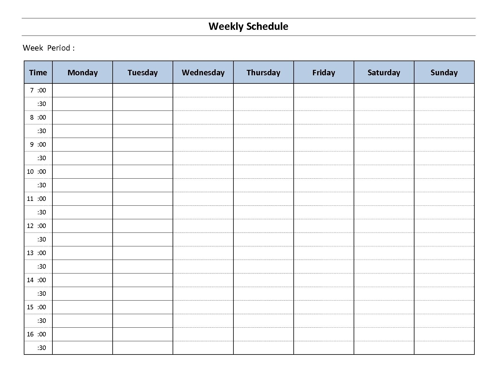 Impressive Monday Through Friday Blank Calendar Weekly Schedule Template Excel Weekly Planner