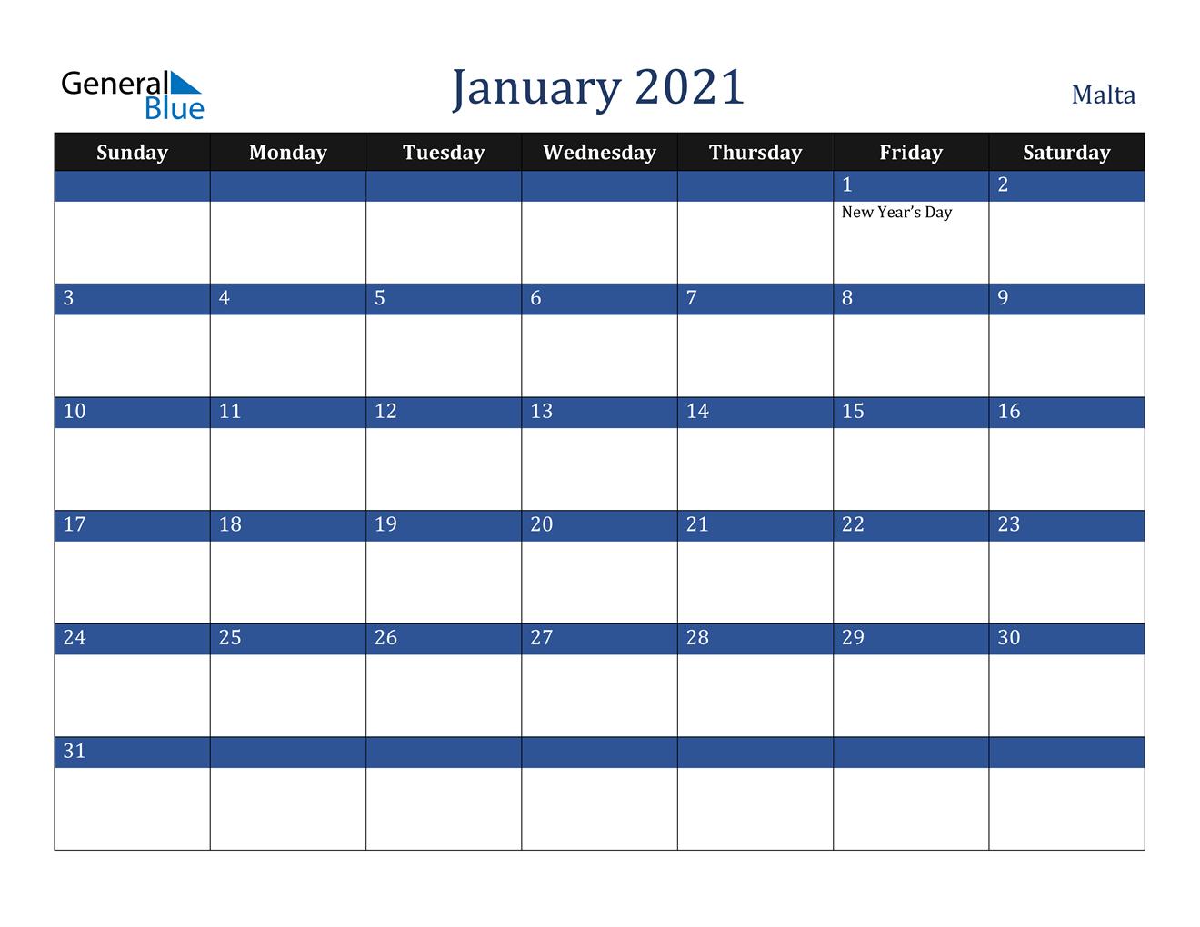 January 2021 Calendar Malta