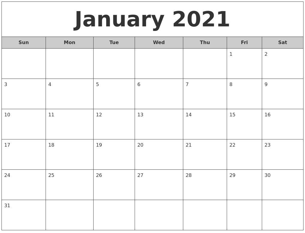 January 2021 Free Monthly Calendar