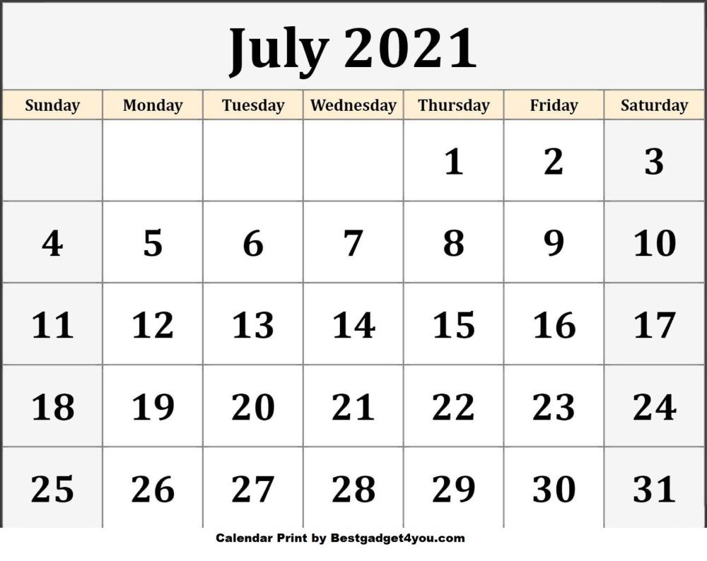 July 2021 Blank Calendar Template Calendar Printables