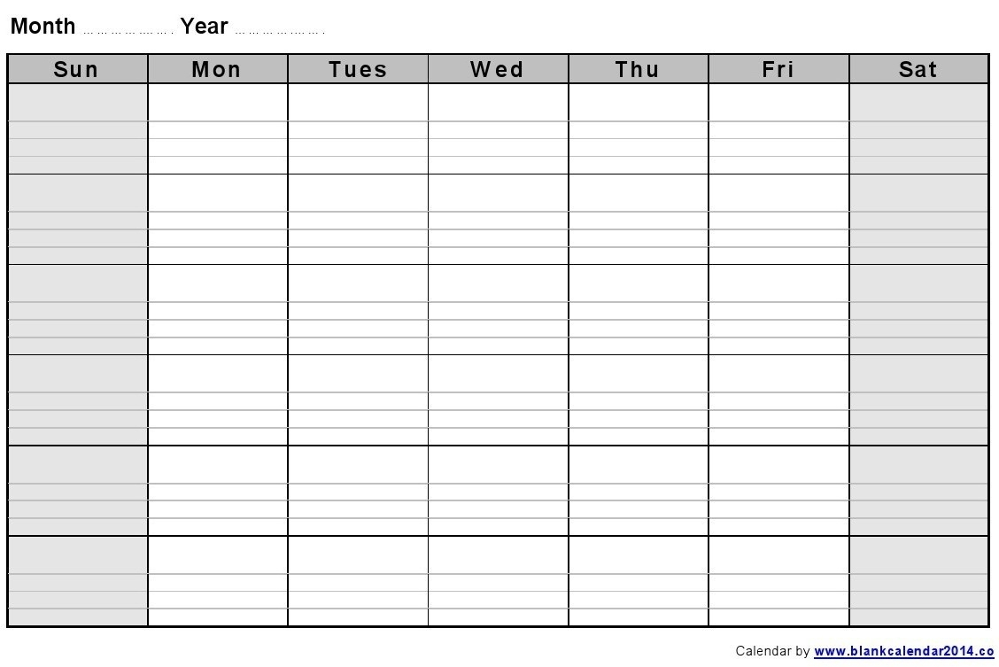 Large Empty Monthly Calendar Monday Start Template