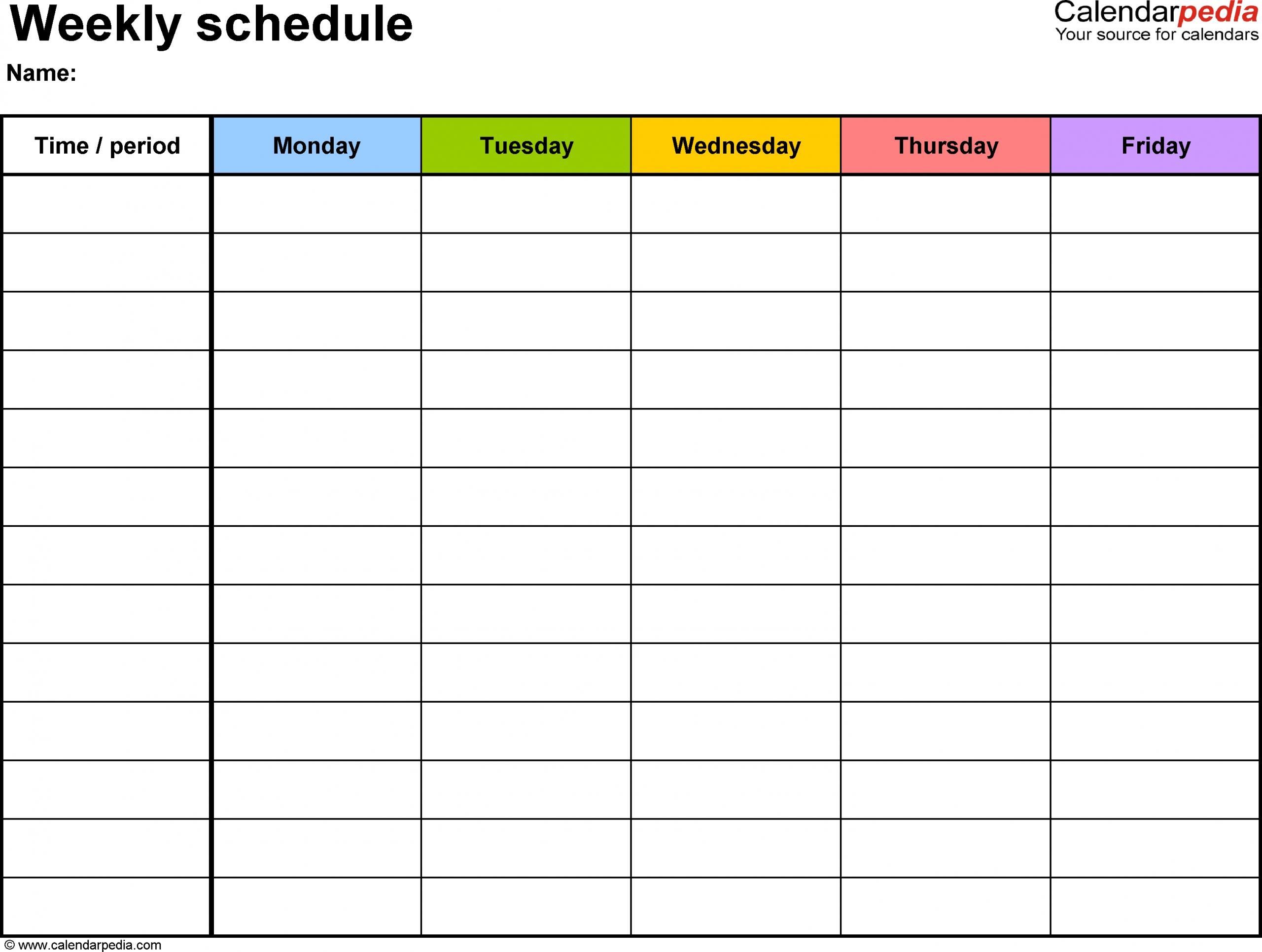 Monday Through Friday Calendar With Times Calendar Inspiration Design