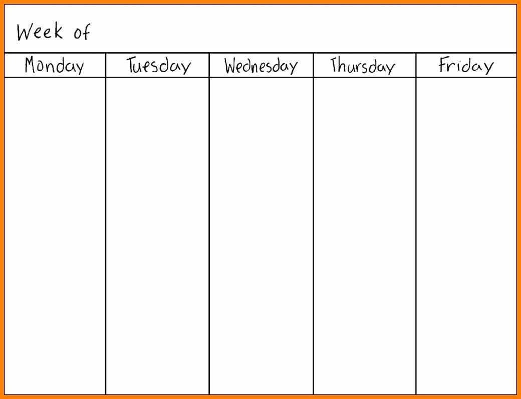 Monday Thru Sunday Template Free Calendar Template