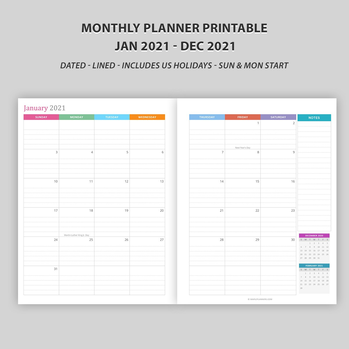 Monthly Calendar 2021 Vertical Layout Download Free