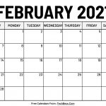 Monthly February 2021 Calendar Template Printable