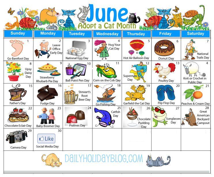 monthly holidays calendars to upload weird holidays