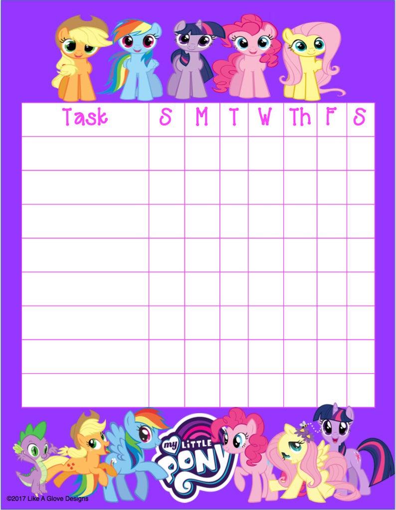 My Little Pony Mlp Kids Chore Chart Printable Instant