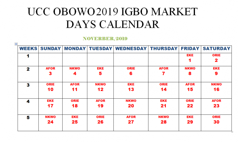 Obowo Igbo Market Calendar Uhuri