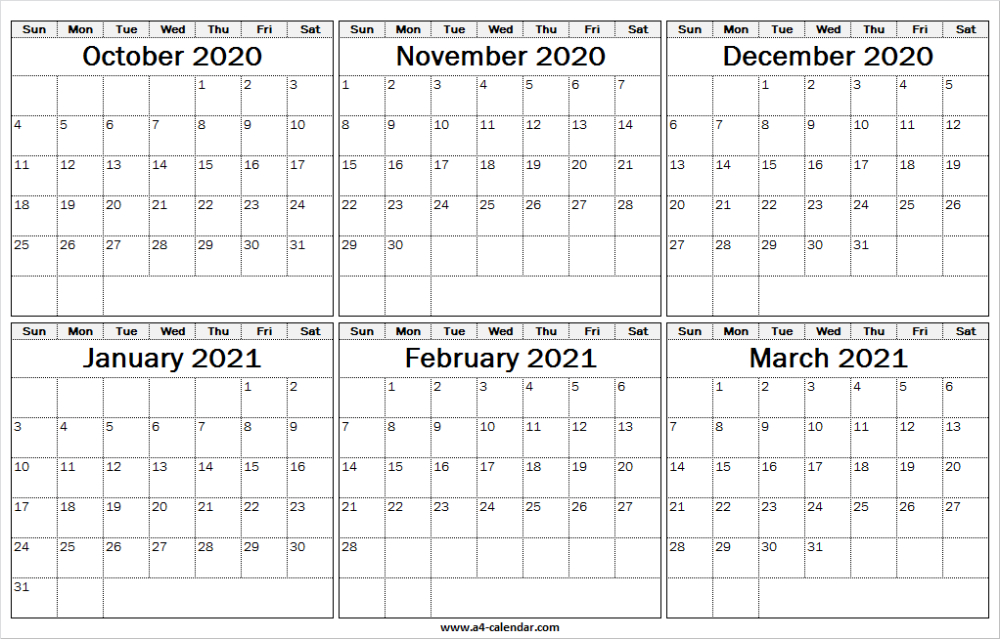 October 2020 To March 2021 Calendar Vertical Six Month